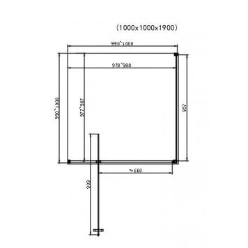 Душевая кабина Dusel DL198+DL196 Chrome 100х100х190 без поддона-2
