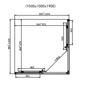 Душевая кабина Dusel EF184 Black Matt 100х100х190 без поддона-3