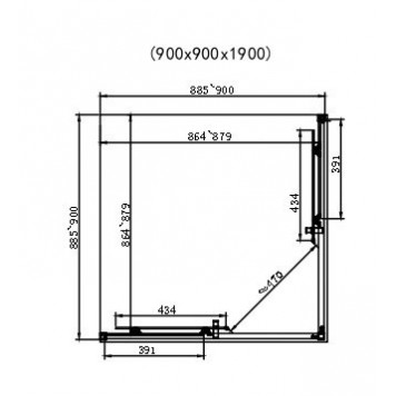 Душевая кабина Dusel EF184 Black Matt 90х90х190 без поддона-3