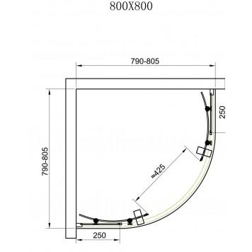 Душевая кабина Dusel А-511 80х80х190 стекло прозрачное без поддона-3