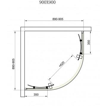 Душевая кабина Dusel А-511 90х90х190 стекло шиншиллах без поддона-3
