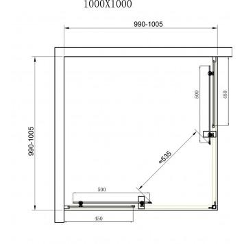 Душевая кабина Dusel А-513 100х100х190 стекло прозрачное без поддона-2