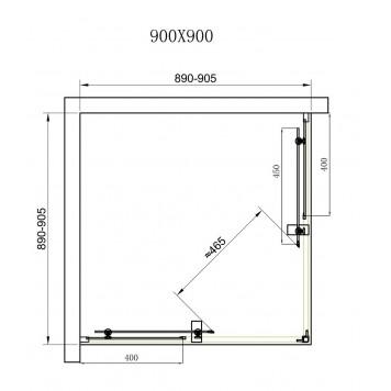 Душевая кабина Dusel А-513 90х90х190 стекло прозрачное без поддона-2