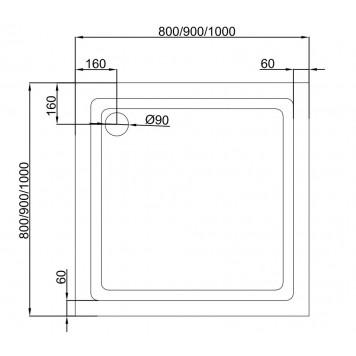 Акриловый поддон Dusel D102 90х90x13,5-3