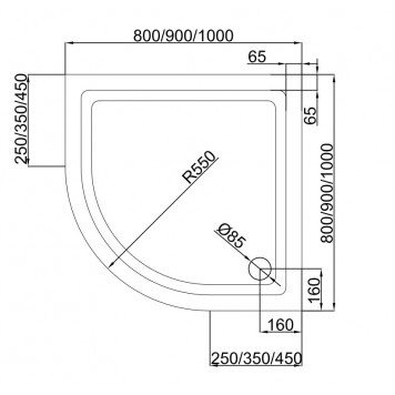 Акриловый поддон Dusel D202 100х100x13,5-2