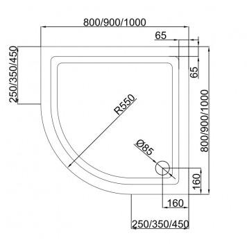 Акриловый поддон Dusel D202 90х90x13,5-1