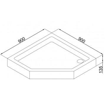 Акриловый поддон Dusel D402 100х100x13,5-2