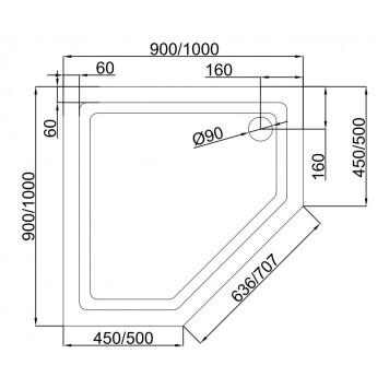 Акриловый поддон Dusel D402 90х90x13,5-3