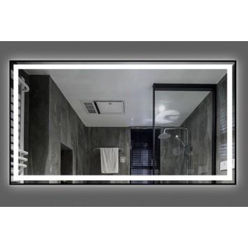 Зеркало DUSEL LED DE-M0061S1 Black 100х75 с часами