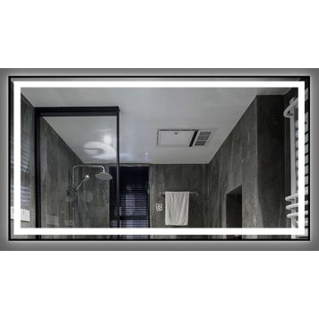 Зеркало DUSEL LED DE-M0061S1 Silver 80х65 с часами