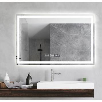 Зеркало DUSEL LED DE-M1091 100х75 с часами и Bluetooth