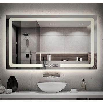 Зеркало DUSEL LED DE-M3001 100х75 с часами