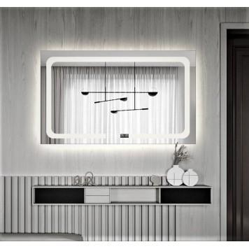Зеркало DUSEL LED DE-M3001 100х75 с часами-1