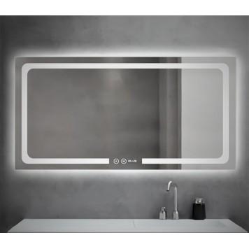 Зеркало DUSEL LED DE-M3001 100х75 с часами-2