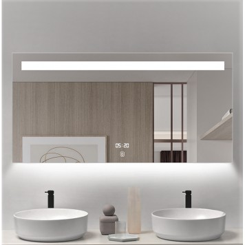 Зеркало DUSEL LED DE-M3021 100х75 с часами и Bluetooth