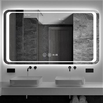 Зеркало DUSEL LED DE-M3031 100х75 с часами