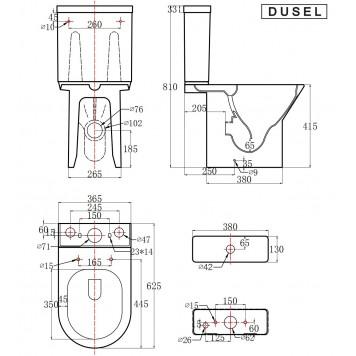 Унитаз-компакт с сиденьем Soft-Close DUSEL VERONA DTPT10212230R-5