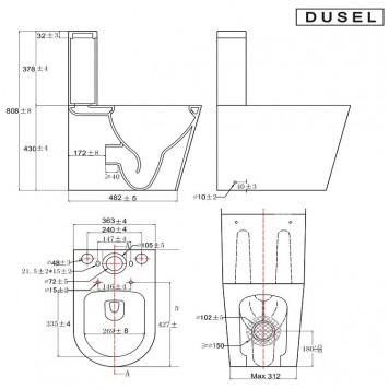 Унитаз-компакт с  сиденьем Slim Soft-Close DUSEL MARSEILLE DTPT10212730R-4