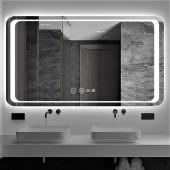 Зеркало DUSEL LED DE-M3031 120х75 с часами
