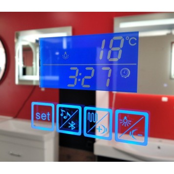 Зеркало DUSEL LED DE-M3021 100х75 с часами и Bluetooth-5