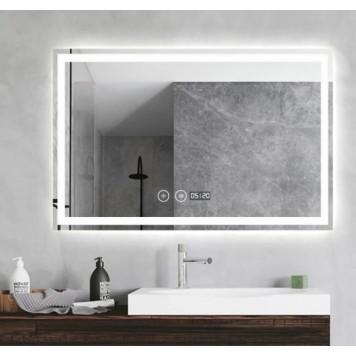 Зеркало DUSEL LED DE-M1091 100х75 с часами-9