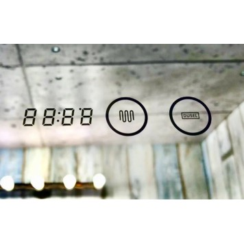 Зеркало DUSEL LED DE-M0061S1 Silver 100х75 с часами-6