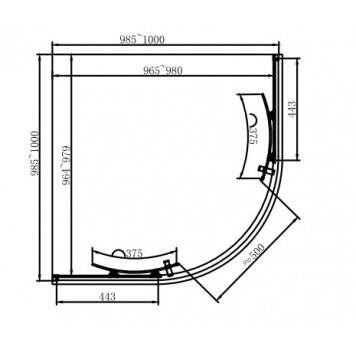 Душевая кабина Dusel EF-182B Black Matt 100х100х190 без поддона-1