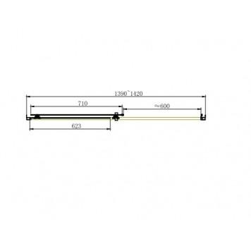 Душевая дверь Dusel FА-512, 140 см, стекло прозрачное-2
