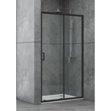 Душевая дверь в нишу Dusel EF185B Black Matt, 110 см, стекло прозрачное