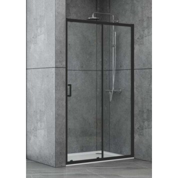 Душевая дверь в нишу Dusel EF185B Black Matt, 140 см, стекло прозрачное