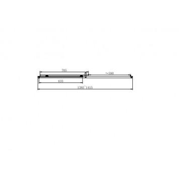 Душевая дверь в нишу Dusel EF185B Black Matt, 140 см, стекло прозрачное-1