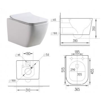 Унитаз-биде c термостатом и с сиденьем Slim Soft-Close DUSEL CUBIS Termix DWHT10201030ТМ-2