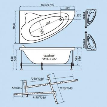 Акриловая ванна Triton Кайли (правая) 150x100-1
