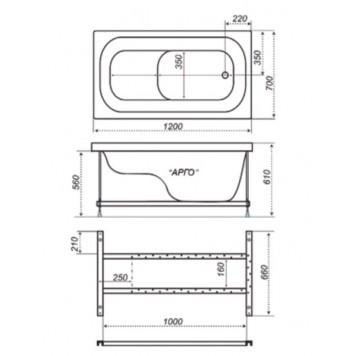 Акриловая ванна Triton Арго 120x70-5
