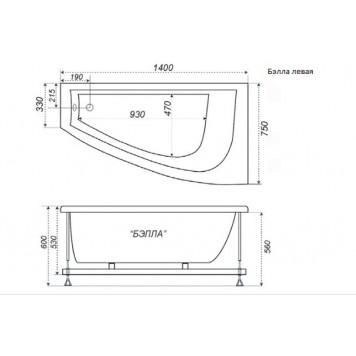 Акриловая ванна Triton Бэлла (левая) 140x76-3