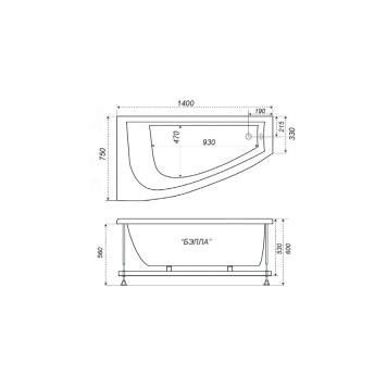 Акриловая ванна Triton Бэлла (правая) 140x76-1