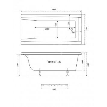 Акриловая ванна Triton Джена 160x70-1
