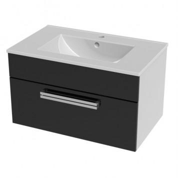 Тумба 'Ника-75' (черная) подвесная, 1 ящик, ( с раковиной)